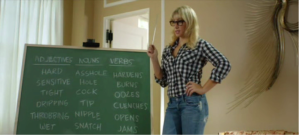 A woman standing in front of a blackboard with lists of words used in erotica, e.g., nipple, clench, cock, dripping