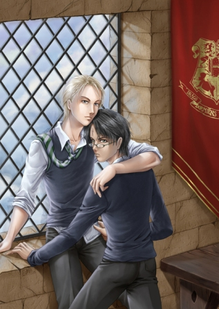 Artwork of Draco and Harry embracing