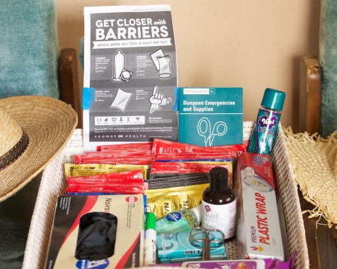 Photo of large basket of safer sex supplies