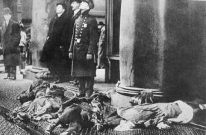 Dead bodies of the seamstresses who jumped to their deaths to avoid burning alive. This is what's at stake when we talk about labor rights.