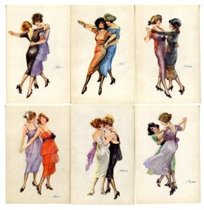Via Ambidancerous: Cards from the 1920's portraying women dancing together.