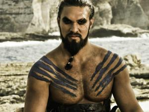 Jason Momoa again as Khal Drogo in Game of Thrones