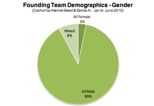 gender in silicon valley pie chart