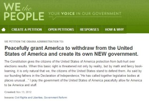 There were secession petitions in all 50 states after Obama got reelected, so this was the next logical step