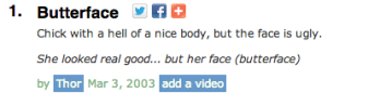 urban dictionary definition of butterface