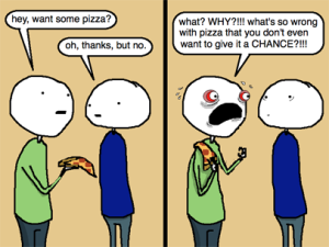rejecting pizza