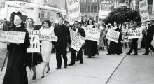 Demonstration against segregation at Illinois Club for Catholic Women, Loyola University, 1963 (credit Marquette University archives)_0