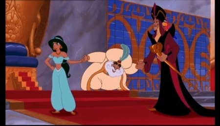 Jasmine rolls her eyes at the Sultan and Jafar