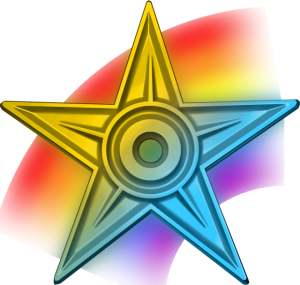"Image of the ""special barnstar,"" from the Wikipedia tradition of giving out differently-themed five-pointed stars to other editors as a sign of appreciation."