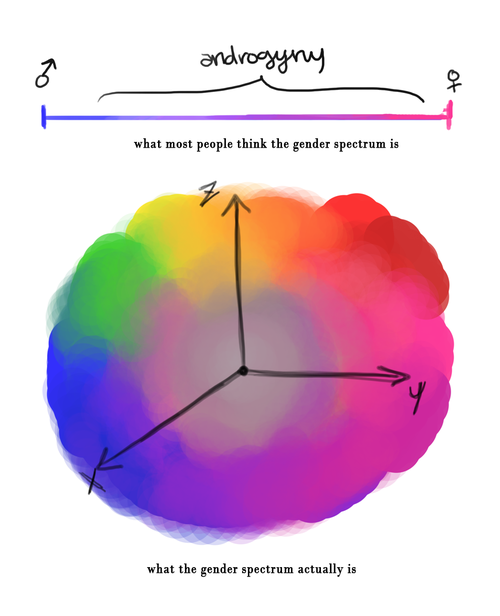 what most people think the gender spectrum is: a line leading between masculine and feminine (masculine is blue, feminine is pink). What it actually is: a colorful cloud with arrows pointing from the center toward a blue area marked x, pink area marked y, and yellow area marked z.
