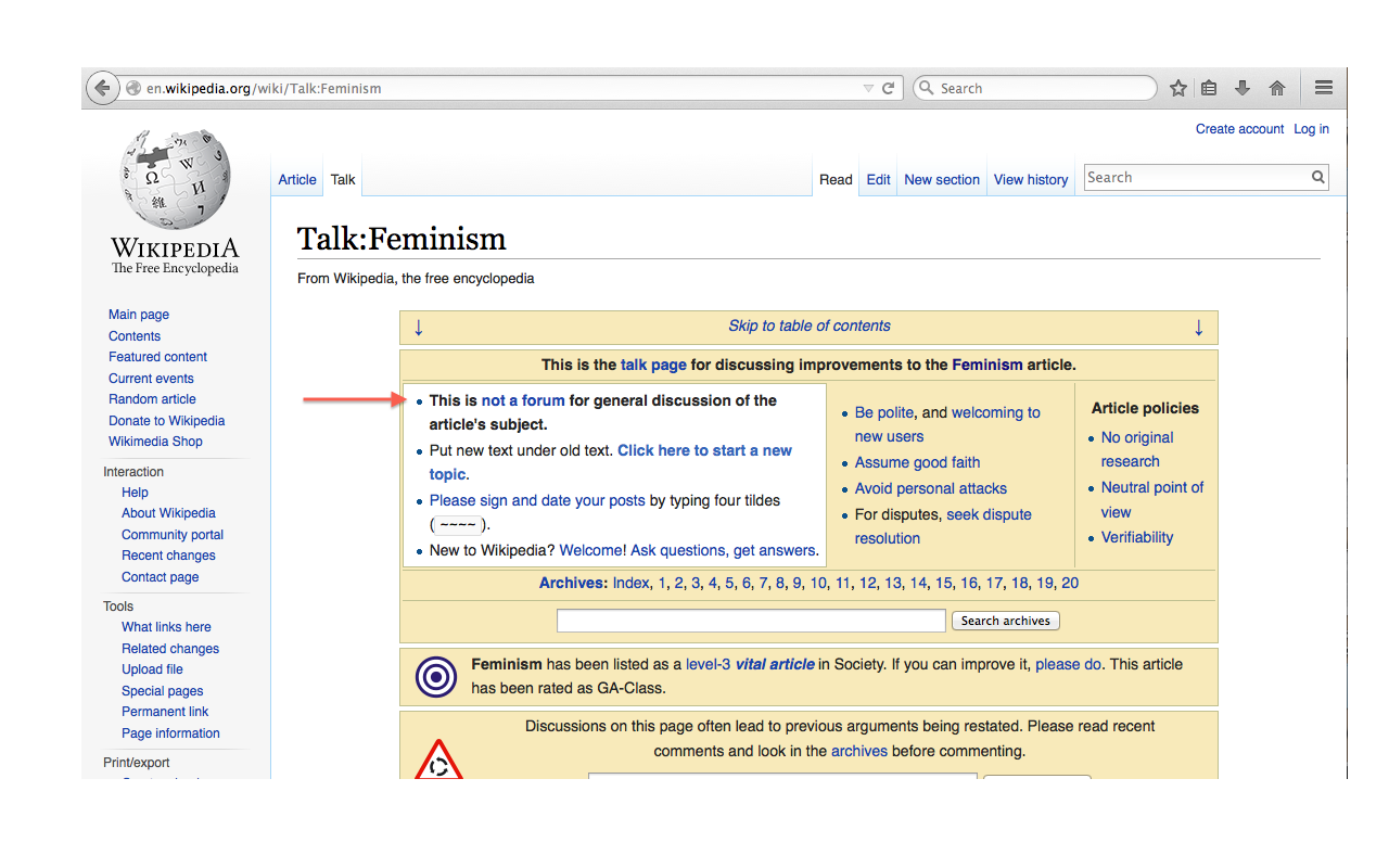 Wikipedia, part IV: Talk pages | Disrupting Dinner Parties