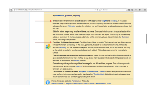 Click to enlarge.  Image of Wikipedia consensus on Feminism talk page noting that the Feminism article does not have to present anti-feminism opinions in order to be considered a neutral article by Wikipedia standards.