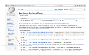 "Image of the page history of the wikipedia article, looking at an editor's comment about why they changed back an edit that someone had made: ""not an improvement"""